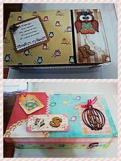 Caixas em mdf e decoração com técnicas de scrap.