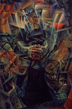 Umberto  Boccioni      Materia, 1912, reworked 1913 Oil on canvas, 226 x 150 cm Gianni Mattioli Collection Long-term loan to the Peggy Guggenheim Collection, Venice