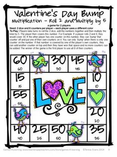 FREEBIE from Games 4 Learning Valentine's Day Math Bump Games gives you 2 Valentine's Day Math Board Games