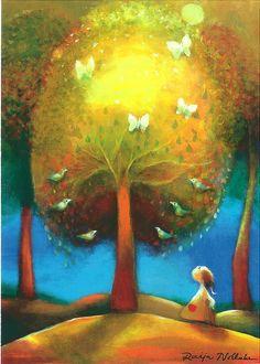 The Sun-tree, Raija Nokkala Finland Mystic Symbols, Surrealism Painting, Scandinavian Art, Naive Art, Pastel Art, Children's Book Illustration, Mellow Yellow, Simple Art, Funny Art