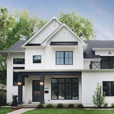 Cozy Farmhouse Exterior Design Ideas That Looks Cool - Modern farmhouse Dream House Exterior, Exterior House Colors, Exterior Homes, Exterior Paint, Black Windows Exterior, White Siding, Black Trim Exterior House, House Exterior Design, Exterior House Siding