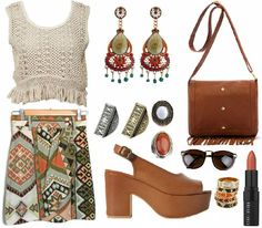 Vintage / wrap /skirt /olive green /orange /brown / cream / crochet /crop/top / zara / wedges / tasseled / cross/body/bag /bohemian /.boho /ethnic /outfit /lookbook /style / fashion / rings