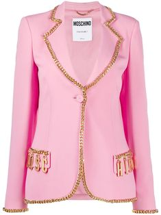 Candy pink chain-trimmed logo blazer from MOSCHINO featuring chain-link trim, notched lapels, gold-tone logo lettering, front button fastening and front flap pockets. Logan, Pink Candy, Office Wear, Moschino, Women Wear, Feminine, Blazer, Couture, Boutique