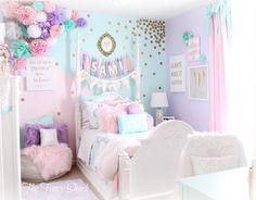 Unicorn bedroom - Sami Says AG & The Fancy Shack Girls Pastel Bedroom Room makeover Pastel Girls Room, Pastel Bedroom, Girls Bedroom Purple, Colorful Girls Room, Girls Flower Bedroom, Mint Girls Room, Pastel Room Decor, Pastel Walls, Pink Kids