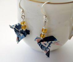 Blue Origami Bird Earrings Folded Paper Dove Jewelry by JustFolds, $7.00