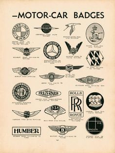 """A Quick Guide To Motor-Car Badges"" from an English publication ""Modern Boys Book of Hobbies"" circa 1937"