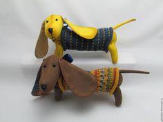 Купить Такса - такса, текстильная игрушка, собака, собачка, подарок, комбинированный, лён, хлопок, синтепон