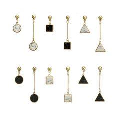 Asymmetrische unterschiedliche Ohrhänger mit marmoriertem Stein  | eBay