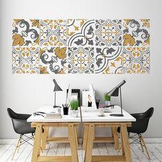 Vinilo Moderno MO229 con dibujo imitación azulejo con apariencia desgastada formando un mosaico en dos colores . ¡Ideal para dar un toque retro pero a la vez moderno a nuestros hogares!