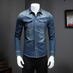 d8d7dc2075f 2017 New Men Denim Shirt Solid Long Sleeve Slim Fit Jeans Shirt Men Front  Double Pockets Design Jeans Casual Shirts Mens 5XL M-in Casual Shirts from  Men s ...