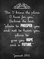 Free Chalkboard Printable - Jeremiah 29:11 For I know the plans I have for you...Plans to prosper you and not to harm you, plans to give you Hope and a Future. One of my favorite verses. - via swtblessings.com