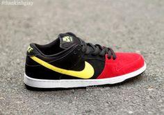 NIKE SB DUNK LOW PRO RED/BLACK–YELLOW #sneaker