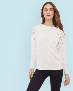 Lace shoulder sweater - Nude Pink | Knitwear | Ted Baker UK
