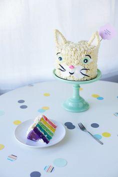 rainbow cat cake. Lylah Loves kitties, so I'm thinking of a kitty cat for bday #2.