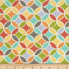Michael Miller Tile Pile Multi from @fabricdotcom%0A%0ADesigned for Michael Miller Fabrics, this cotton print includes colors of coral, orange, aqua, green, yellow and white. Use for quilting, apparel and home decor accents.
