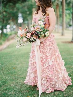 d72875991509d Bride Dons Pink Floral Dress for Romantic Lowcountry Wedding