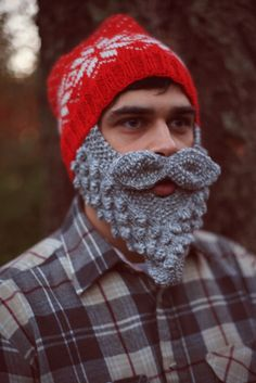 Wild Man Bearded Snowflake, Moose, Reindeer or Polar Bear Hat. $57,99, via Etsy.