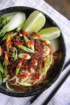 Spicy Sriracha Noodle Soup with Crispy Ground Beef by portandfin #Soup #Noodles #Sriracha #Pork