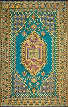 Mad Mats Oriental Turkish Indoor/Outdoor Floor Mat 6 by 9-Feet Aqua