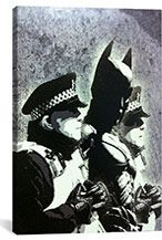 """Shop for Banksy """"Batman and the Police"""" Brushed Aluminum Wall Art. Get free delivery On EVERYTHING* Overstock - Your Online Art Gallery Shop! Banksy Canvas Prints, Banksy Artwork, Banksy Graffiti, Canvas Wall Art, Bansky, Banksy Monkey, Art Images, Graphic Art, Street Art"""