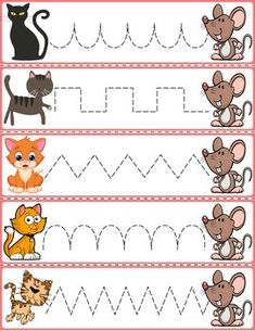 """Trace The Pattern: Cats & Rats Cards. Help your child develop their pre-writing and fine motor skills with """"Trace the Pattern"""" printable cards. Print these out, cut them up, and then laminate for use with Expo markers and pens. Preschool Activity Sheets, Preschool Writing, Preschool Printables, Preschool Worksheets, Preschool Activities, Educational Activities For Kids, Kids Learning, Farm Animals Preschool, Pre Writing"""