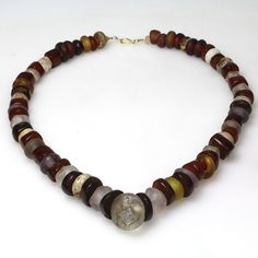 A Roman Glass and Amber Bead Necklace, ca. 2nd - 3rd century A.D. | Sands of Time Ancient Art