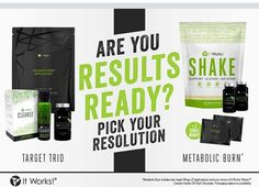 Welcoming our 2 New Packs               TARGET TRIO- It Works CLEANSE, Fat Fighters & 1 pack of 4 Wraps  METABOLIC BURN- Fat Fighters, Thermofit, IT WORKS Shake (Vanilla or Chocolate) & 2 Individual Wraps  Gain weightloss control this year and hit those target areas with an It Works BANG!  Our packs are for sale NOW!!  Message Me, 646.625.9840 www.classygurllifestyle.com