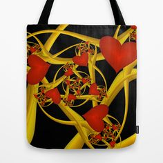 Love Red Hearts Fractal Tote Bag - printed Tote Bag with the Design in red, yellow, golden and black on both Sides.