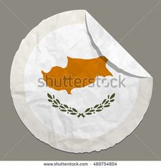 Cyprus flag symbol on a paper label
