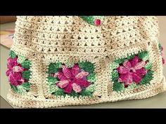 Vida com Arte   Bolsa florida em crochê por Marta Araújo - Com AD e CC - YouTube