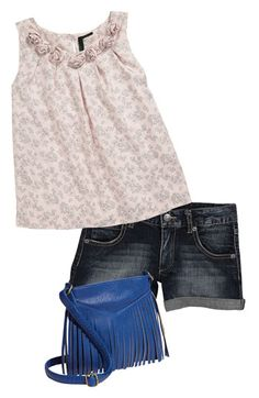 United Colors of Benetton Kids Top & Shorts and Lucky Star Accessories Fringe Crossbody Bag