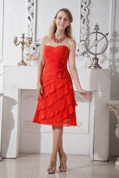 Robe En Mousseline De Soie Fleur Rouge Demoiselles D'Honneur rs2667 - Tissu: Mousseline De Soie; Décolleté: Sweetheart; Silhouette: Une Ligne-; Fermeture: Fermeture À Glissière - Price: 120.9900 - Link: http://www.robesoirees.com/robe-en-mousseline-de-soi