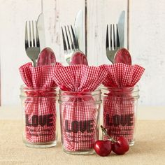 Add gingham bags to cute personalized mason jars for an easy table setting