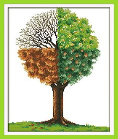 Happy Forever Cross Stitch Scenery, the four seasons tree happy forever