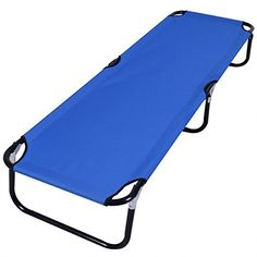 GHP Blue Portable Outdoor Folding Bed For CampingSleepingHikingTravel ** More info could be found at the image url.