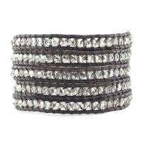 Crystal Satin Wrap Bracelet on Natural Grey Leather - Chan Luu
