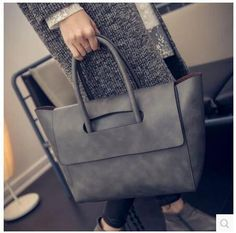New Arrival Women Tote Bag High Capacity Fashion Faux Leather Handbag Black Brown Gray