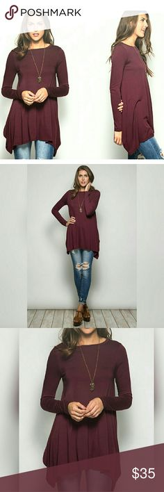 Burgundy long sleeve tunic top Burgundy/wine color long sleeve tunic top.   Super cute soft and flowy top.   60% cotton 40% rayon knit tunic  FREE SHIPPING ON BUNDLES!! preppybohemian  Tops Tunics