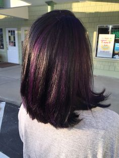 dark brown hair with purple peekaboos Black Hair Purple Highlights, Purple Brown Hair, Hair Color Purple, Hair Color And Cut, Purple Streaks, Burgundy Hair, Purple Peekaboo Hair, Hairstyles With Bangs, Cool Hairstyles