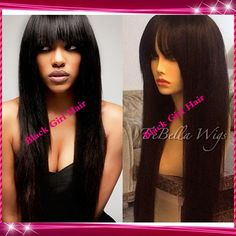 Top Quality Front Lace wigs/Glueless Full Lace Wigs Virgin Brazilian straight Human Hair wigs with bangs for black women US $209.00