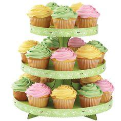 Soporte para cupcakes de tres pisos de brillante colorido. Genial para decorar mesas dulces.  www.tatamba.com