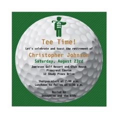 Golfball Green Gold Golf Themed Retirement Party Invitation