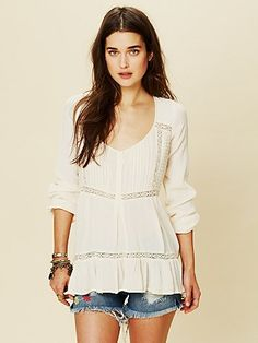 Free People Pintuck Bubble Sleeve Tunic. available at Sachi