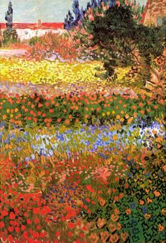 Vincent Van Gogh, Flowering Garden. From Van Gogh's Sunflowers, to his Irises, or his Roses, he brought life and emotion to his work – taking a subject matter that has been painted since the beginning of art and putting his unique perspective on it.