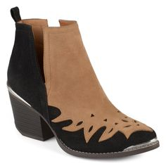 8bb602d41196 Rock the hottest trend this year in metal detail side split ankle boots by Journee  Collection. These ankle boots feature a two-tone upper design with chic ...