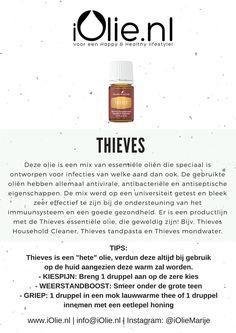 Thieves - Verlichtend bij kiespijn, weerstandboost, griep, keelpijn en door de anti-bacteriele werking ook goed te gebruiken in het huishouden. www.iOlie.nl