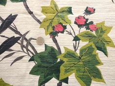 vintage curtains for sale | ... red and green tropical print vintage cotton barkcloth fabric panel