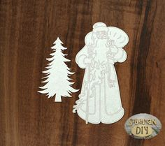 """Laser Cut Chipboard """"Santa Claus with Christmas tree"""" by SiberianDIYcraftsArt on Etsy"""