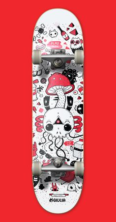Skull - Calavera by Giulia Marchetti - Skateboard Photos, Skateboard Deck Art, Skateboard Design, Skateboard Girl, Custom Skateboards, Cool Skateboards, Skateboard Furniture, Longboard Design, Posca Art