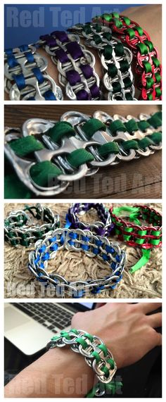 Awesome upcycled bracelets made from ring pull tabs. These cost me NOTHING to me, but look fabulous. A great gift for both boys and girls to make!!!